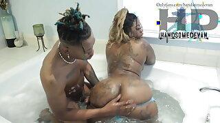 Ebony stepmom & young stepson in bath