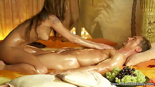She Massages His Body And Dick To Make It Cum Joyfully