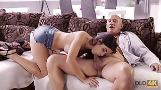 OLD4K. Naughty brunette tempts aged pauper procure drilling her butthole