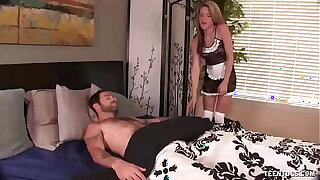 Slutty maid jacks absent say no to boss